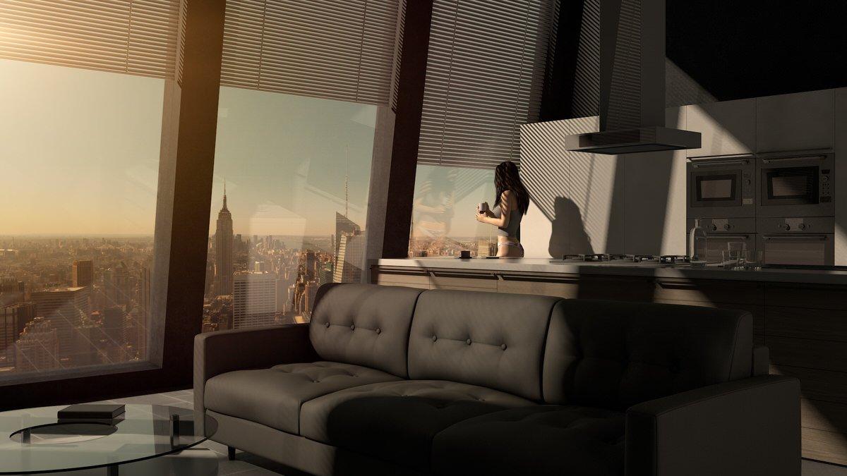 Moderne Küche mit einer Top Aussicht in New York City fotografiert